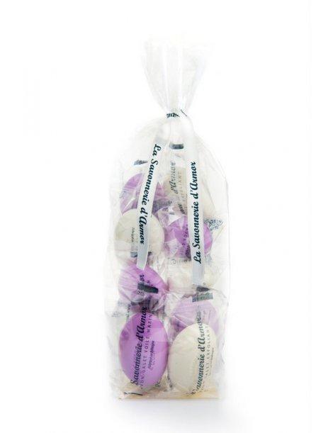 Ballotin de 10 savons galets blanc et roses