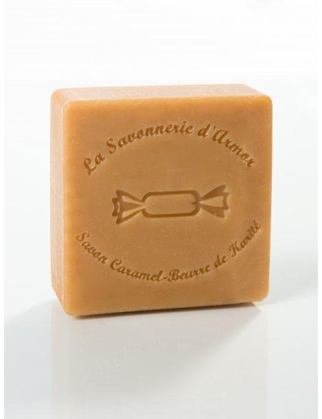 Savon carré, caramel et beurre de Karité, parfum sucre d'orge, 100g